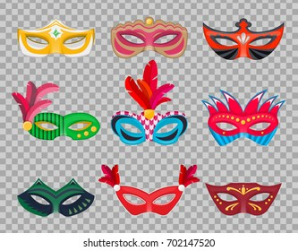Collection Venetian carnival masks isolated hand painted on a transparent background