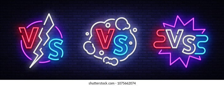 Collection Versus neon signs vector. Set of Versus logo, symbol in neon style. Design template light banner, night advertising. Battle vs match, game concept competitive vs