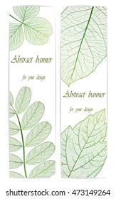Collection of vertical banners wits leaves . Abstract vector illustration.EPS10.