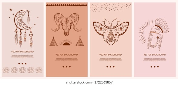 Collection vertical template for networking and social media. Boho and Tribal elements, woman face portrait, dreamcatcher, birds, buffalo skull, esoteric elements, insect, plants. Vector Illustration.