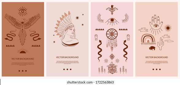 Collection vertical template for networking and social media. Boho and Tribal elements, woman face portrait, dreamcatcher, eagle birds, esoteric elements, insect, plants. Vector Illustration.