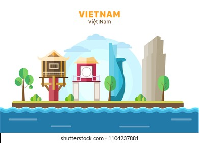 A collection of Vietnam landmarks with background scenary