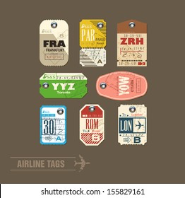 Collection of vintage airline tags.