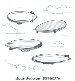 Collection of vintage airships - hot air balloons, blimps and dirigibles