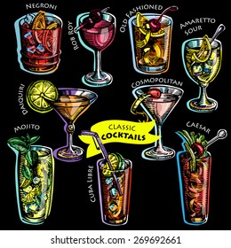Collection of vintage cocktails. Hand drawn illustrations. Vector.