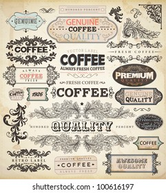 Collection of vintage elements for Coffee design: retro coffee badges and labels, old style floral ornaments, frames and borders | eps10 vector set