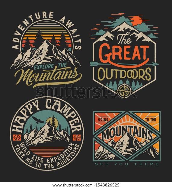 Collection of vintage explorer, wilderness, adventure, camping emblem graphics