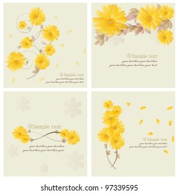 Collection of Vintage floral background - Daisies. Vector illustration.