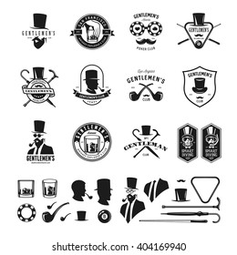 Collection of vintage gentleman emblems, labels, badges and design elements. Whiskey explorers club. Beard and moustache silhouette. Poker, billiard clubs signs. Vector illustration.