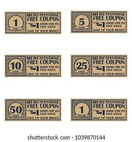 Collection of vintage grunge coupons. Old ticket. Sale coupon, voucher, tag. Vintage style template. Old style free discount coupon. Retro merchandise coupon. Realistic vector illustration.