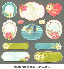 Collection of vintage labels with spring flowers and swallows with an empty seat for your text, vector set 1.