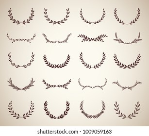 Collection of vintage laurel wreaths. Can be used as design elements in heraldry on an award certificate, manuscript and to symbolise victory illustration in silhouette