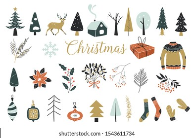 Collection of Vintage Merry Christmas And Happy New Year flowers. Vector illustration with floral elements, leaves.Template for Scrapbooking,Stickers,Planner,Invitations. Perfect for winter decoration