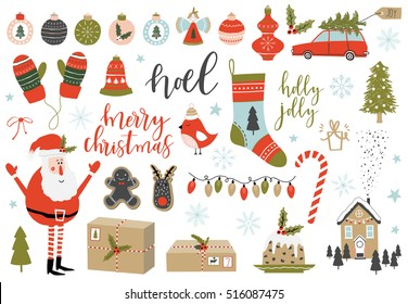 Collection of Vintage Merry Christmas And Happy New Year elements. Greeting stylish illustration of winter toys, decoration, flowers, leafs, lettering.
