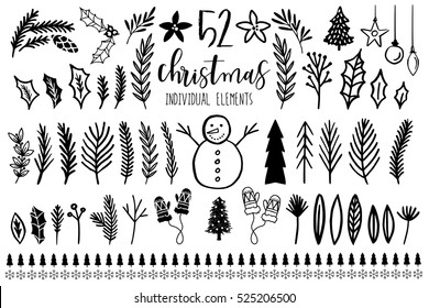 Collection of Vintage Merry Christmas And Happy New Year elements. Vector illustration.