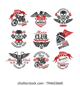 Collection of vintage motorcycle emblems. Original monochrome label for biker club or repair service. Typography vector design for badge, logo, t-shirt print or poster