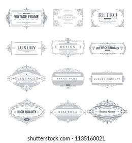 Collection of vintage patterns. Flourishes calligraphic ornaments and frames. Retro style of design elements, postcard, banners, logos. Vector templates.