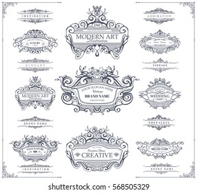 Collection of vintage patterns. Flourishes calligraphic ornaments and frames. Retro style of design elements, postcard, banners, logos. Vector template patterns