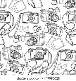 Collection of vintage reflex hand drawn cameras . Vector design elements isolated on white background. Coloring book page for adults and kids