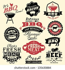 Collection of vintage retro BBQ badges and labels