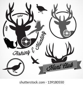 Collection of Vintage Retro Fishing and Hunting Badges and Labels