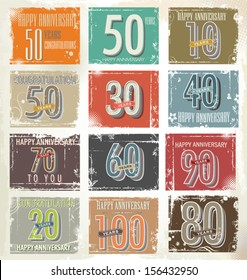 Collection of vintage retro grunge anniversary labels