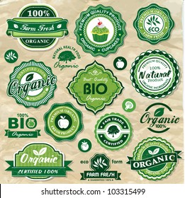 Collection of vintage retro grunge bio and eco organic labels natural products