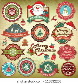 Collection of vintage retro grunge christmas labels, badges and icons