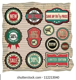 Collection of vintage retro grunge sale labels, badges and icons