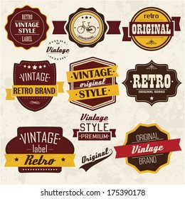 Collection of vintage retro labels, badges, stamps, ribbons, marks and typographic design elements, vector illustration