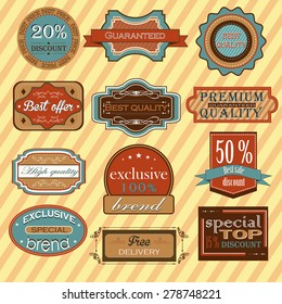 Collection of vintage retro labels, badges and icons. Vector