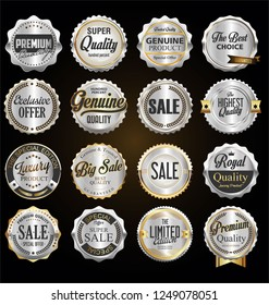 Collection of vintage retro premium quality silver badges and labels