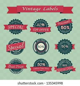 Collection of vintage retro sale labels , eps10 vector format