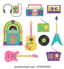 Collection of vintage retro style items that symbolize various decade music accessories, instruments and sound items.
