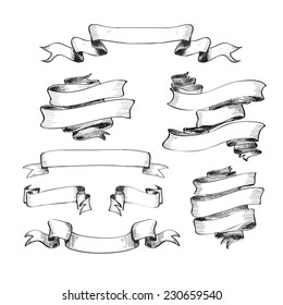 Collection of vintage ribbons. Hand drawn graphic illustrations.
