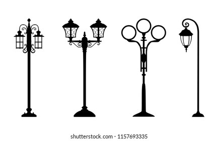 Collection of vintage streetlights for scrapbook postcards, print. Vector retro street lamp lights isolated on white background. Lamppost in retro style, lantern black streetlights on white.
