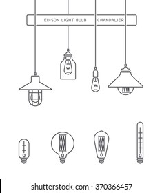 Collection of vintage symbols light bulbs and lamps.Edison light bulbs.Template for design. Business Signs, Logos, Elements, Labels, Sticker and Other Design Elements Vector illustration. Isolated