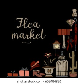 Collection of vintage things hand drawn in vector. Lovely pattern for decoration  flea market signboard. Isolated on the background and easy to use.