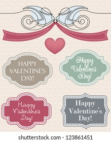 Collection of vintage Valentine's Day design elements, vector set - label, banner, birds holding a ribbon, heart, page decoration - isolated on cute designed background