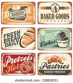 Collection of vintage vector bakery signs and retro ads.