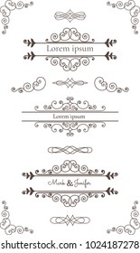 Collection of vintage Vector Calligraphic Decorative Elements: Frames, borders, vignettes, decorative elements