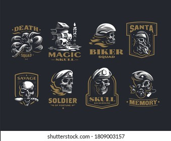 Collection of vintage vector emblems. Human skulls in a helmet, with a snake, in a military beret, with a knife and a beard, a candle, a book, roses