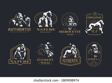 Collection of vintage vector emblems with the image of a gorilla and a monkey in different poses and portrait.