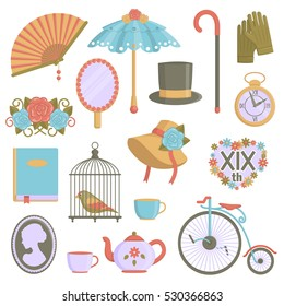 A collection of vintage victorian era items. Flat illustrations of personal accessories, everyday use items and innovations that symbolize 19th century culture.