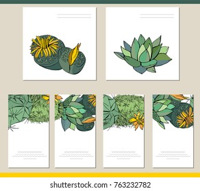 Collection of visit cards, square greeting cards and banners with home plants. Tipical flowers grown indoors