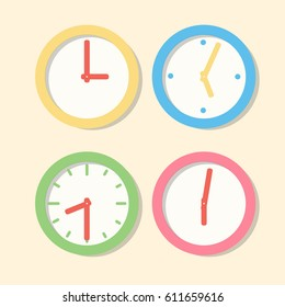 Collection wall clock patterns. Icons clock in flat vector style. Set of multi-colored office hours