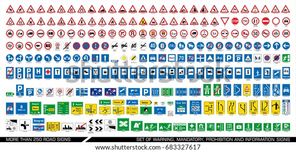 Collection of warning, mandatory, prohibition and information traffic signs. European traffic signs collection. Vector illustration.