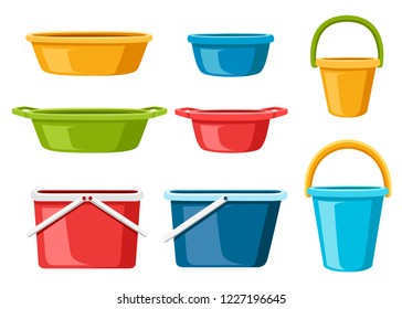 Collection of water containers. Water buckets and basins. plastic products mass market. Flat vector illustration isolated on white background.