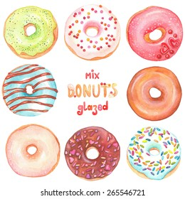Collection of watercolor colorful donuts glazed.