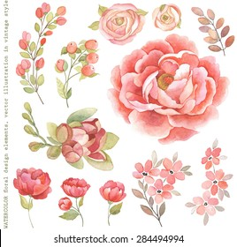 Collection of watercolor floral branches, flowers and plants in vintage style.